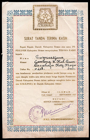 Indonesian mass killings of 1965–1966 - A certificate of gratitude from the Regent of Sleman for financial donations to the elimination of the PKI
