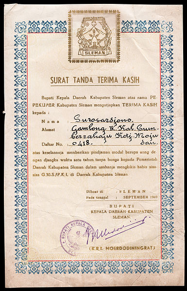 File:Certificate of Gratitude for Financial Loan for the Elimination of PKI, Sleman (dated 09-1969).jpg