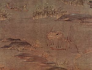Shan shui - A river journey with the first snow (五代南唐 趙幹 江行初雪圖) by Chao Khan