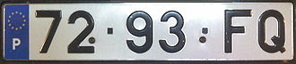 Vehicle registration plates of Portugal - Type of licence plate used between 1992 and 1997