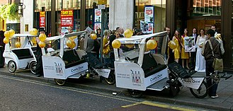 Vehicle for hire - Eco Chariots cycle rickshaw fleet in London