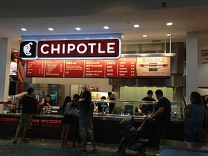 Chipotle Mexican Grill - A Chipotle restaurant in Brandon, Florida, having the typical service-line layout with menu above