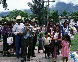 Chirimia -  A chirimia and drum accompany a Catholic procession in Jacaltenango, Guatemala.