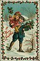 """Christmas postcard with young boy carrying sheaf of holly in one arm and little girl, also holding holly branches, in the other, surrounded by a border of holly and with the words """"A Merry Christmas."""".jpg"""