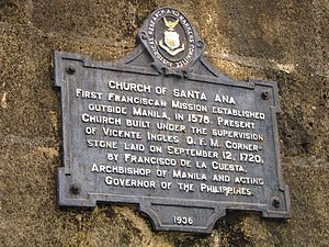Santa Ana Church - Historical Marker of Santa Ana Church