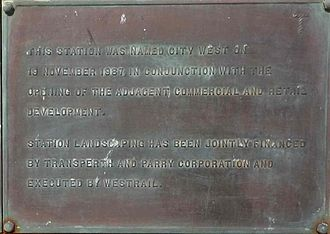 City West railway station - Image: City West May 2014 plaque 2