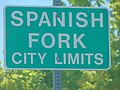 City limits sign, N Main St, Spanish Fork, Utah, May 16.jpg