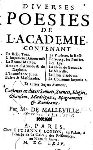 Claude de Malleville - Diverses poésies de l'Académie by Claude Malleville (1664)
