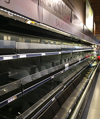 Product recall - Emptied grocery shelves during the 2018 American salmonella outbreak. Such clearances were done to prevent the sale of potentially contaminated agricultural products