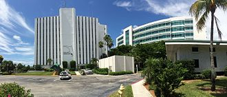Collier County, Florida - Collier County's main administration building, left, and the back end of the county courthouse, right.