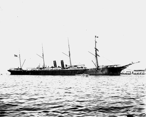 Compañía Transatlántica Española - Ship Colón at Port Said. This CTE ship took part in the doomed attempt to break the US-imposed naval blockade on the Philippines during the 1898 Spanish–American War.