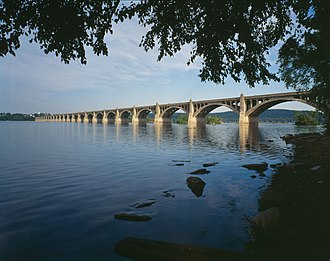 Columbia–Wrightsville Bridge - Looking west over the Susquehanna River