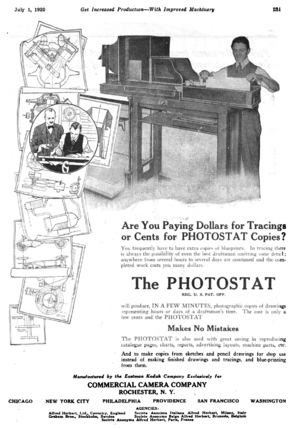 Photostat machine - Commercial Camera Company Photostat advertisement in American Machinist, 1920.