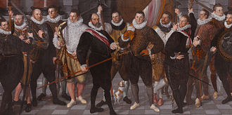 Cornelis Ketel - The Company of Captain Rosecrans by Cornelis Ketel, 1588.  The painting has been trimmed on all sides, especially at the top