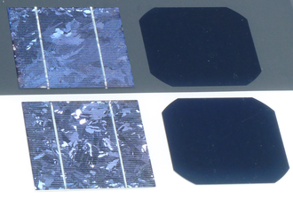 Crystalline silicon - Crystalline silicon solar cells are made of either multi-Si (left) or mono-Si (right)