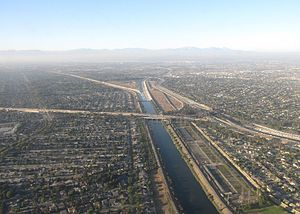 San Gabriel River (California) - The channelized San Gabriel River in Los Alamitos, near its confluence with Coyote Creek