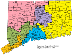 Connecticut's 6th congressional district - Connecticut's congressional districts, 1993–2003 (prior to elimination of 6th district). The sixth district is in the northwest corner, highlighted in pink.