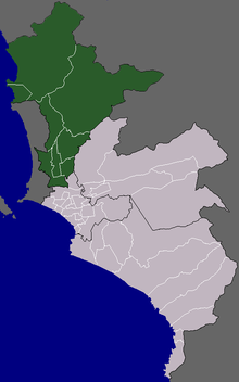 Location of Cono Norte in the Lima province