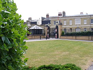 Ordnance Survey buildings - The entrance gates with the Western Range buildings behind and the Barrack Block to the left.