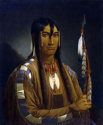 Paul Kane - Painting by Kane of a Plains Cree warrior and pipe stem carrier. Seen along the North Saskatchewan River, Saskatchewan Canada.