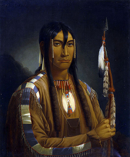 Cree Pipe Stem Carrier, a painting of a Plains Cree warrior by Paul Kane. Cree pipe stem carrier-Cree warrior.jpg