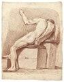 Croquisteckning föreställande naken man, sittande på modellpall, 1760-tal - Skoklosters slott - 99352.tif