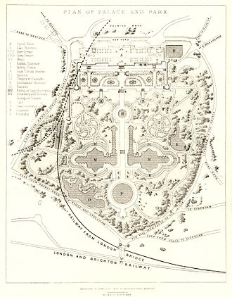 Crystal Palace Park - An 1857 plan of the grounds of The Crystal Palace