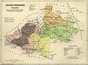 Csanád County - Image: Csanád county administrative map