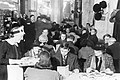 Customers enjoying afternoon tea at Lyon's Corner House on Coventry Street, London, 1942. D6573.jpg