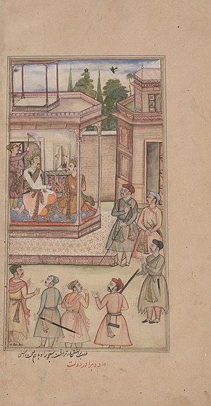 Sanjaya -  Dhitrastra summons Sanjaya to become messenger of the Pandavas, Artist Daud, folio of Razmnama.
