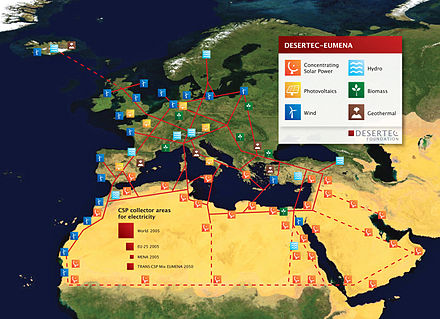 Desertec proposed using the Saharan and Arabian deserts to produce solar energy to power Europe and the Middle East. DESERTEC-Map large.jpg