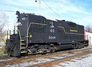 EMD GP9 - An EMD GP9 equipped with dynamic brakes on the Shenandoah Valley Railroad in Staunton, VA.