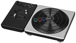 A black turntable with three buttons on the rotating deck.