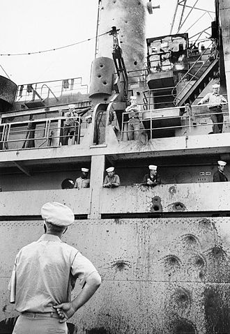 USS Liberty incident - Amidships starboard hull and superstructure attack damage