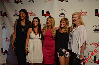 Dance Moms - Dance Moms at the May 2015 opening of ALDC-LA in Santa Monica, California, season 5. From left: Holly Hatcher-Frazier, Kira Girard, Melissa Gisoni, Jill Vertes and Jessalynn Siwa.