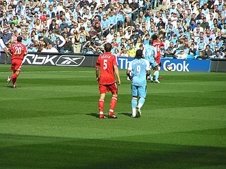 Daniel Agger - Agger in action against Manchester City in April 2007