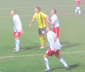 Danny Graham (footballer) - Graham (centre; yellow shirt) playing for Watford against Crystal Palace, 2011