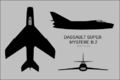 Dassault Super Mystere B.2 three-view silhouette.png