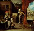 De Dood nodigt de oude rijkaard uit voor de laatste dans, door Frans Francken II, Museum van de Nationale Bank van België.png