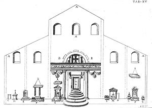 Papal tombs in old St. Peter's Basilica - Drawing of papal tombs, from De sacris aedificiis... by Giovanni Ciampini (1693)