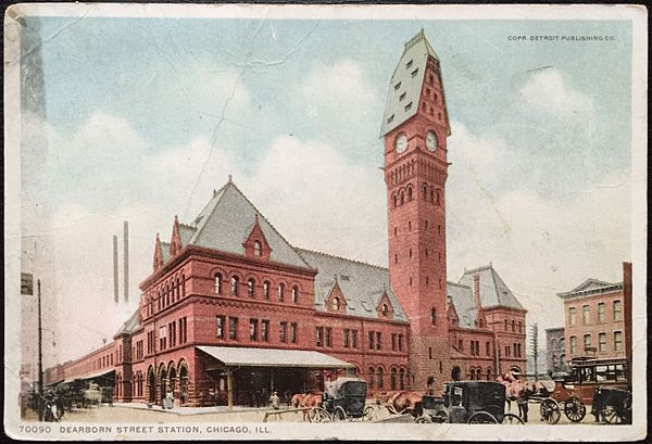 Postcard of Dearborn Station as it appeared ca. 1907. Originally, it had a steeped pitch roof story, which was eliminated in reconstruction in the 1920s Dearborn Station postcard ca. 1907.JPG