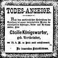 Death notice Cäcilie Königswarter (née Wertheimber), Paris, 1872.jpg