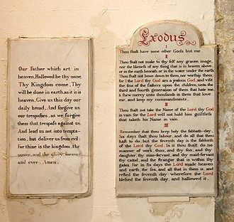 All Saints Church, Patcham - The church has Decalogue tablets on the west wall.