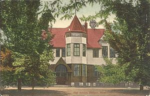 Dedham High School - A postcard of the building that housed Dedham High School in Dedham, Massachusetts from 1886 to 1915 on Bryant Street