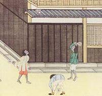 Scene of badminton playing in Dejima.