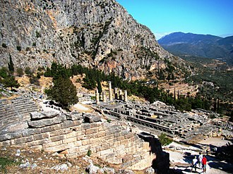 Know thyself - Ruins of forecourt of the Temple of Apollo at Delphi, where know thyself was once said to be inscribed