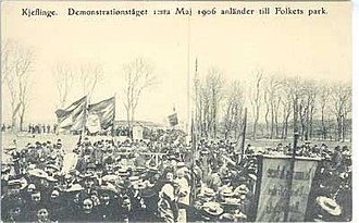 Folkets Park in Kävlinge - Demonstration and opening procedure May Day 1906 in Kävlinge Folkets park.