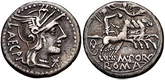 Porcia (gens) - Denarius of Marcus Porcius Laeca, 125 BC. The reverse picture Libertas in a chariot, holding a pileus, the symbol of freedom, a reference to the Lex Porcia passed in 199 BC by his ancestor.