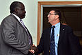 Deputy Secretary of Defense Ashton B. Carter, right, meets with Ugandan Minister of State for Foreign Affairs Okello Oryem at Tisu Army General Headquarters in Mbuya, Uganda, on July 23, 2013 130723-M-EV637-442.jpg
