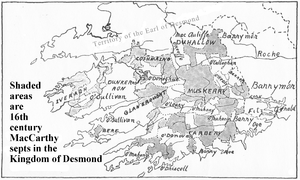 Kingdom of Desmond - Map adapted from: W.F. Butler; Pedigree and Succession of the House of MacCarthy Mór, With a Map; Journal of the Royal Society of Antiquaries of Ireland; Vol. 51, May 1920; p.33.